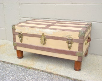 Antique Steamer Trunk Coffee Table Chest With Legs   Industrial Storage  Chest   Repurposed   Rustic