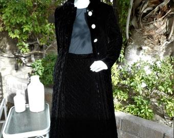 Vintage 1970's Junior Accent Quilted Black Velvet Coat & Skirt Set - Size 10