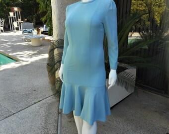 Vintage 1980's Adolph Schuman for Lilli Ann Blue Dress - Size 14/16