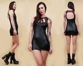 90s Vtg Black Wet Look CAGE Rhinestone Micro Mini Dress / Fetish GLAM Goth Club Wear / Xs Sm