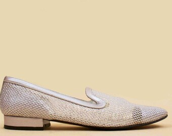 80s 90s Vtg FISHNET Silver Mesh Smoking Loafer Slip On Low Chunky Heel / Metallic Avant Garde GLAM Mod 7.5 Eu 38
