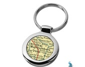 Map Keychain Murfreesboro TN  Key Ring Fob - Select Any City or Town In State Of Tennessee For Antique Map Key Chain Gift