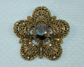 Rare Weiss Gold Marcasites and Faceted Hammatite Rhinestone Brooch