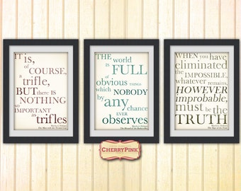 Sherlock Digital Art poster set, Quote print, Sherlock quote print, DIGITAL DOWNLOAD
