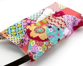 Kimono Tissue Cover, Gift For Mom, Large Tissue Box Holder, Colorful Flowers