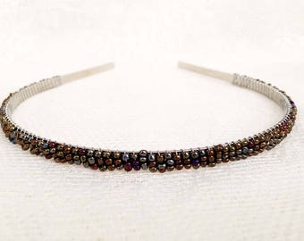 Metallic Medieval Shield (Silver Gold Bronze) Beaded Headband Tiara - Alice Hair Band (Limited Edition Color)