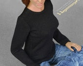 1/6th scale black long sleeve T-shirt for female action figures and fashion dolls