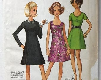 Simplicity Vintage Day Dress Pattern 8887 Misses 10 Petite