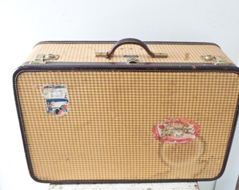 Vintage Herringbone Suitcase Brown and Tan Suitcase Suitcase Large Travel