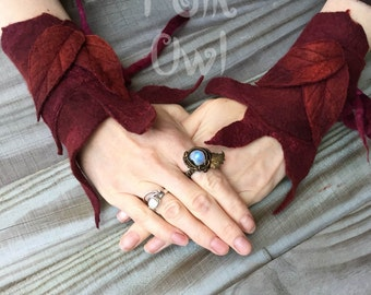 Pixie Festival Cuffs-fingerless gloves- Folkowl Cuffs - leaf cuffs -  Forest Cuffs  - felted cuffs-gauntlets-red gloves-oxblood burgundy red
