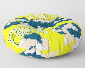 Pop Florals in Citrus Floor Cushion