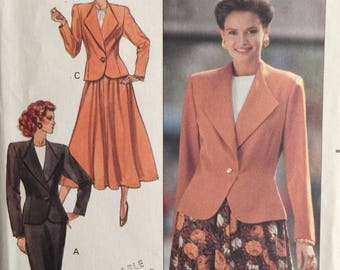 Butterick 4319, Size 8-10-12, Misses'/Misses' Petite Jacket and Skirt Pattern, UNCUT, Fast and Easy, Unlined Jacket, Vintage 1989