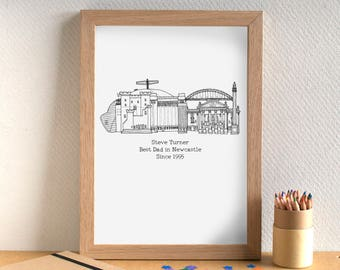 Father's Day Skyline Print - Personalised Father's Day Cityscape Print - UK City Father's Day Art - birthday gift for dad