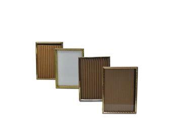 Vintage Brass Picture Frames Gold Picture Frames Stand up Picture Frames Wedding Décor Wedding Frames Set of 4
