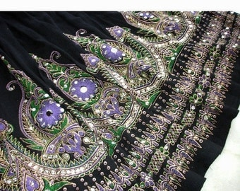 ON SALE Gypsy Skirt: Black Indian Mini Skirt, Boho Bohemian Short Skirt, Sequin Skirt with Purple Flowers, Festival Clothing, Summer Cover U