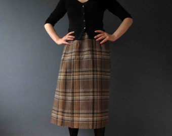 70s 80s Brown Plaid Wool Mix Midi Pleated Skirt Small