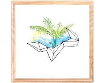 Modern Green Fern Watercolor Painting -  Geometric Lady Fern Original Art - 7x7 Small Square Plant Illustration - Fern Botanical Art