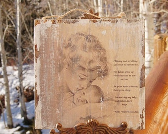 Babies Don't Keep Poem  Cleaning and Scrubbing Wood Plaque or Slate Sepia