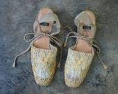 Size 9 / Espadrille  Ankle Wrap /  Stuart Weitzmen Soutache Summer Shoe /  Vintage Women's Wedge Heel Shoes