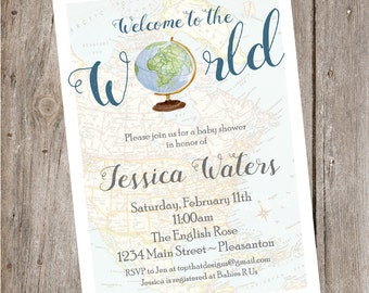 Welcome to World Baby Shower Invitation- Digital