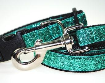 "Teal Metallic Glitter 3/4"" Width Adjustable Collar & Leash"