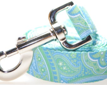 "Paisley Blue and Green - 1"" Width  Leash"