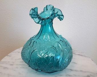 Fenton Glass Swan Vase Aquamarine Blue Double Crimped Rim