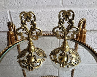 Gold Plated Perfume Bottle Pair Gold Gilted Globe Made In W. Germany Ornate Vanity Decor
