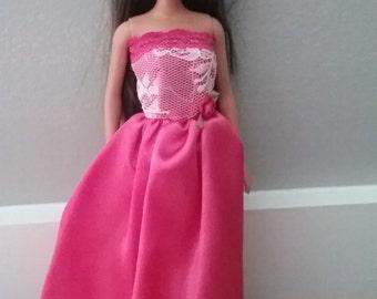 Handmade Formal Barbie Dress, Hot Pink