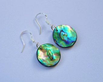 New Zealand Paua Shell & sterling silver earrings