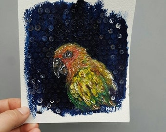 Parrot painting, small acrylic art, on paper, original bird art, colorful mixed media, parrot decor, tropical wall art, bird picture