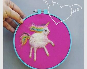 Unicorn art, wool painting, cute chubby rainbow unicorn felt picture, embroidered fuschia nursery decor, fiber painting,new baby gift