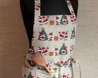 Linen Kitchen Utility Apron Womens Aprons for women Christmas Apron Gardening Apron Teachers Apron Gray Rudolph Reindeer Holiday