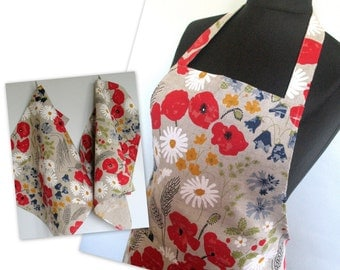Linen Kitchen kit Utility Apron Womens Aprons for women Valentines Day Easter Apron Towels Natural Gray Daisies Poppies Cornflowers Flowers