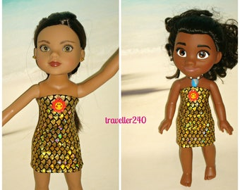 "Doll Clothes ""Golden Goddess"" Dress for 14 Inch Dolls, Handmade to fit Hearts For Hearts and 14"" Jakks Disney Moana, by traveller240"