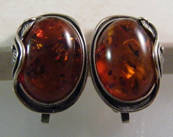 Vintage Glowing Deep Golden Baltic  Amber Vining Clip Earrings in Sterling..... Lot 5070