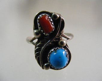 Vintage Signed Native American Sterling Silver Turquoise Coral Ring.....  Lot 5251