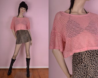 90s Pink Oversized Mesh Boxy Top/ Small/ 1990s/ Crop Top