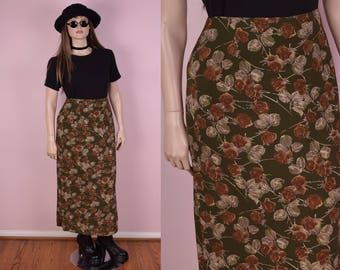 90s Floral Print Skirt/ US 13/ 1990s