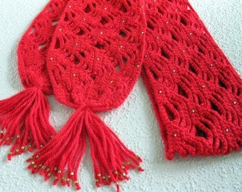 Beaded Red Scarf. Openweave crochet scarf with gold beads. Long, lightweight fashion scarves