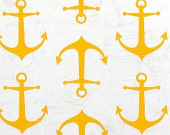 Yellow White Nautical Anchors Curtains  Rod Pocket  63 72 84 90 96 108 or 120 Long by 24 or 50 Wide