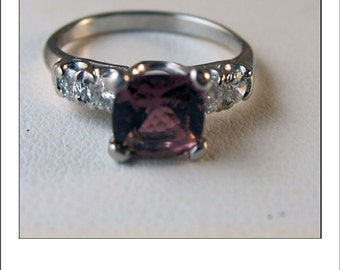 Vintage Platinum Cushion Cut Pink Tourmaline and Diamond 1.5 CT Engagement Ring