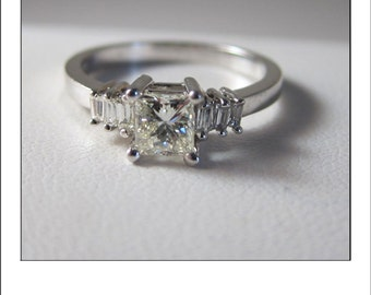 Estate 14k Princess Cut .80 Ct Diamond Baguette Engagement Ring