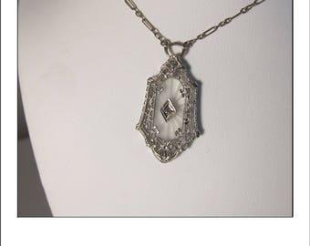 Antique Art Deco 14k Camphor Glass Rock Crystal Starburst Diamond Filigree Necklace