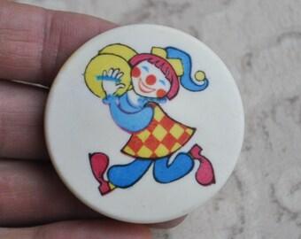 "Vintage Soviet Russian plastic badge,pin. ""Clown"""