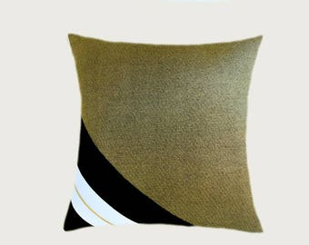 "Decorative Pillow Case, Cotton Black-White with Golden fabric Throw pillow case, 16"" x 16"",  Cushion case, Toss pillow case."