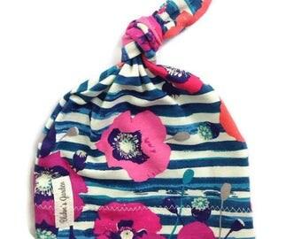 Organic Newborn Hat/ Baby girl Hat/ Organic Cotton Hat/ Baby Knotted Hat/ Knotted Cap/ Organic Cotton Baby Hat/ Newborn Infant Hat/ magenta
