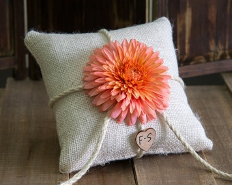 Coral flower ring bearer burlap pillow. Customize with flower and bride and groom initials