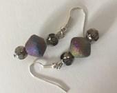 Rainbow Druzy agate earrings/ Druzy and crystal earrings/ purple blue green yellow beaded earrings/ Druzy agate bead earrings