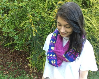 Cowl Pattern - KNITTING PATTERN - Floral Flutters Cowl - Instant Download PDF - Scarf